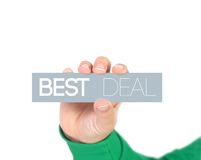 Best deal. Woman holding a label with best deal royalty free stock image
