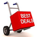 Best deals delivery. Delivery of best deals on a hand cart, red color box, white background dark crome metal Royalty Free Stock Photos