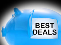 Best Deals Piggy Bank Message Shows Great Offers Royalty Free Stock Images