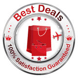 Best Deals. 100% Satisfaction Guaranteed. Icon / label with shopping bags Vector Illustration