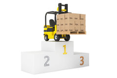 Best Delivering Concet. Forklift truck with boxes over Winners P. Odium on a white background Stock Photography