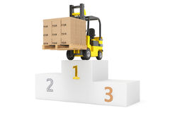 Best Delivering Concet. Forklift truck with boxes over Winners P. Odium on a white background Stock Images