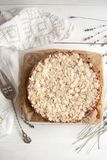 Curd pie with raspberry jam and almonds. Best dessert: Curd pie with raspberry jam and almonds Royalty Free Stock Images
