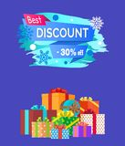 Best Discount Advert Text Written on Promo Label. Best discount -30 advert text written on promo label with snowflakes on backdrop, pile of presents decorative Royalty Free Stock Photo
