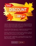 Best Discount Autumn Sale - 30 Off Advert Poster. Best discount autumn sale - 30 off advert promo poster with label, place for text decorated with maple leaves Stock Photo