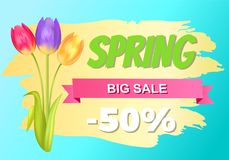 Best Discount 50 Off Advertisement Sticker Sale. Best discount 50 off advertisement sticker colorful bouquet with three tulips of pink purple and yellow color vector illustration