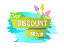 Best Discount 30 Off Advertisement Sticker Sale. Best discount 30 off advertisement sticker colorful bouquet with three tulips of pink purple and yellow color Royalty Free Stock Photo