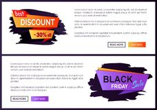 Best Discount -30 off Black Friday Big Sale 2017. Promo label inscription informing about special offer, commercial web banners with text vector Stock Photography