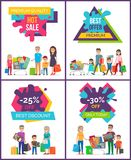 Best Discount -25 Off Sale Vector Illustration. Best discount -25 off, hot sale, premium quality, collection of placards depicting shopping people spending their Stock Image