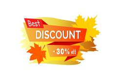 Best Discount -30 Off Placard Vector Illustration. Best discount -30 off, placard with title written on ribbon and autumn leaves as decoration vector Royalty Free Stock Photo