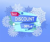Best Discount 30 Off Promotional Poster Snowflakes. Best discount -30 off, promotional poster with unique snowflakes, headline on ribbon and winter symbols Stock Photography