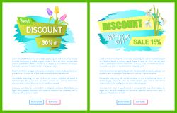 Best Discount 30 Off Sdvertisement Sticker Sale. Best discount 30 off advertisement sticker bouquet with tulips and snowdrop on web page with push buttons read Royalty Free Stock Images