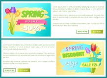 Best Discount Off Sdvertisement Sticker Sale Tulips. Best discount 50 off advertisement stickers colorful bouquets three tulips vector illustration spring Vector Illustration