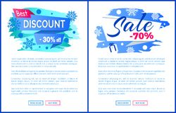 Best Discount 30 Off Winter 2017 Final Sale labels. Best discount -30 off winter 2017 final sale 70 label with snowballs and snowflakes on abstract blue Royalty Free Stock Photos
