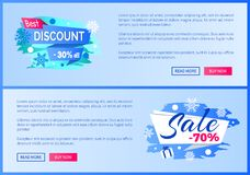 Best Discount 30 Off Winter 2017 Final Sale labels. Best discount -30 off winter 2017 final sale 70 label with snowballs and snowflakes on abstract blue Royalty Free Stock Photo