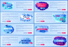 Best Discount -30 Winter Sale Vector Illustration. Best discount -30 off winter sale, collection of web pages with different headline decoration and text sample Stock Image