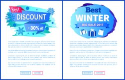 Best Discount -30 Off Winter Sale Labels Posters. Best discount -30 off winter 2017 sale label with snowballs and snowflakes on abstract blue background isolated Royalty Free Stock Photography