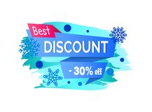 Best Discount -30 Off Winter Sale Label Snowballs. Best discount -30 off winter sale label with snowballs and snowflakes on abstract blue background isolated on Royalty Free Stock Photography