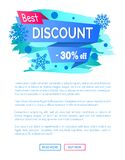 Best Discount -30 Off Winter Sale Label Snowballs. Best discount -30 off winter sale label with snowballs and snowflakes on abstract blue background, seasonal Stock Photography