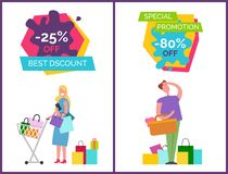 Best Discount and Special Vector Illustration. Best discount and special promotion -80 collection of posters, headlines and images of woman with bags in cart and Vector Illustration