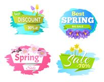 Best Discount Spring Big Sale 50 70 Posters Set. Decorative labels springtime flowers sakura blossom, yellow daffodils purple crocus and color tulips Stock Illustration