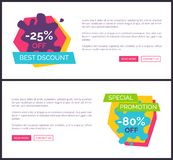 -25 Best Discount Web Pages Vector Illustration. 25 best discount, special promotion -80 off, web pages collection with text sample, headline and buttons on Stock Image