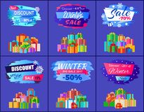 Best Discount Winter Sale Posters Set Promo Labels. With percent off signs, decorated by snowflakes and pile of gift present boxes vector illustrations Stock Photography