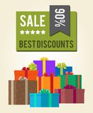 Best Discounts Sale 90 Green Square Label Sticker. Best discounts sale -90 green square label sticker vector promo poster with heaps of present gift boxes with Stock Photo