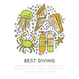 Best diving hand draw icon concept. Diving equipment and sealife in one round form, diving and water adventure icons. Sketch cartooning style, isolated on Stock Image