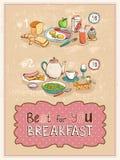 Best Dla Ciebie Śniadaniowego rocznika plakatowy projekt Zdjęcia Stock