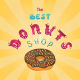 Best Donuts shop. The sign shop or decoration for the menu. Royalty Free Stock Photography