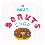 Best Donuts shop. The sign shop or decoration for the menu. Hand lettering inscription. Royalty Free Stock Photography