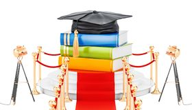 Best education concept with books and graduation cap. 3D renderi. Ng isolated on white background Royalty Free Stock Photo