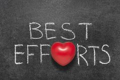 Best efforts chb. Best efforts phrase handwritten on blackboard with heart symbol instead O royalty free stock image