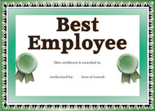 Best Employee Certificate Stock Photo