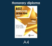 Diploma Best Employee of the Month Golden template with gold metal texture  cool design frame. Best Employee of the Month Golden template with gold metal texture Stock Photography