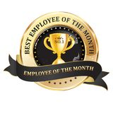 Best employee of the month - workrecognition award ribbon. Best employee of the month - award hanging ribbon. Print colors used Stock Image