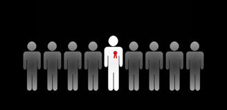 Best employee with red badge. Group of employees with the best employee with red badge in the middle on black background Royalty Free Stock Photography