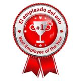 Employee of the Year - bilingual Spanish and English award ribbon for companies. Best employee of the Year - bilingual award ribbon for companies. Text is Royalty Free Stock Photography