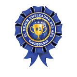Best employer of the year - Spanish language. El Mejor empleador del ano - printable business golden blue icon / ribbon award distinction for companies Stock Photography