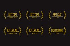 Best ensemle movie winner  logo. Movie award best ensemble cast acting nomination winner black gold  icon set Royalty Free Stock Photo