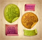 Best, exclusive, new spring offer stickers set. Special discounts Royalty Free Stock Photo