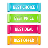 Best fabric labels. Best fabric vector label set; best choice, price, deal and offer signs; bright design Stock Images