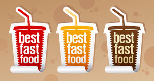 Best fast food stickers. Stock Photo