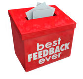 Best Feedback Ever Suggestion Box Ideas Input Comments. Best Feedback Ever words on red suggestion box for great comments, input and ideas royalty free illustration