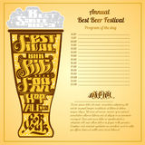 Best festival big bar beer foam lettering on silhouette of glass Royalty Free Stock Photo