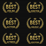 Best Film Award. S. Vector golden winner icons Royalty Free Stock Image