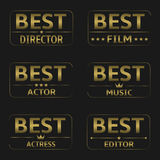 Best Film Awards. Vector golden winner icons Royalty Free Stock Photography