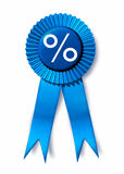 Best financing rates. Symbol representing the blue ribbon award for winner of the lowest interest rates Royalty Free Stock Image
