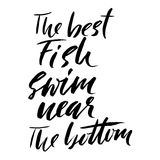 The best fish swim near the bottom. Hand drawn lettering proverb. Vector typography design. Handwritten inscription. Royalty Free Stock Image